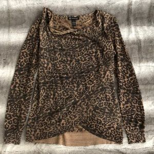 NWOT INC leopard animal print blouse